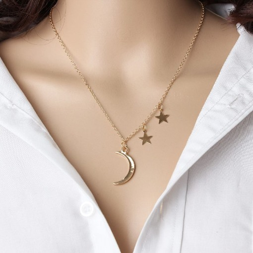 Metal Star & Moon Chain Short Necklace