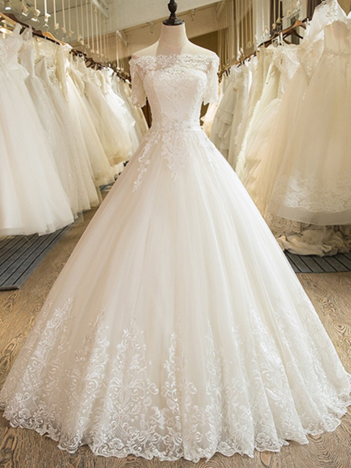 Off-The-Shoulder Short Sleeves Appliques Ball Gown Wedding Dress