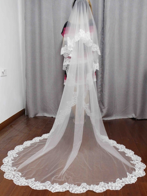 2T Lace Edge Long Wedding Veil