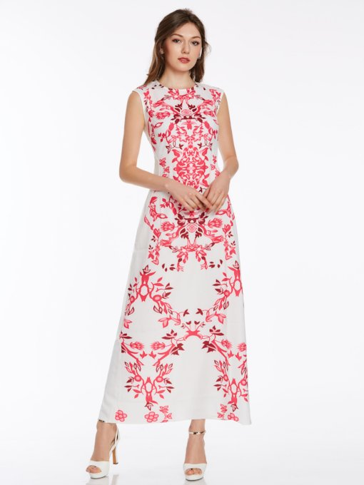Floral Bohemian Ankle-Length Women's Maxi Dress