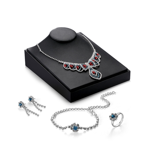 Water Droplets Design Rhinestone Four-Pieces Jewelry Set
