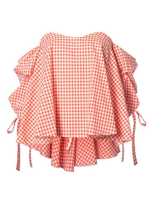 Gingham Heap Sleeve Plain Women's Blouse