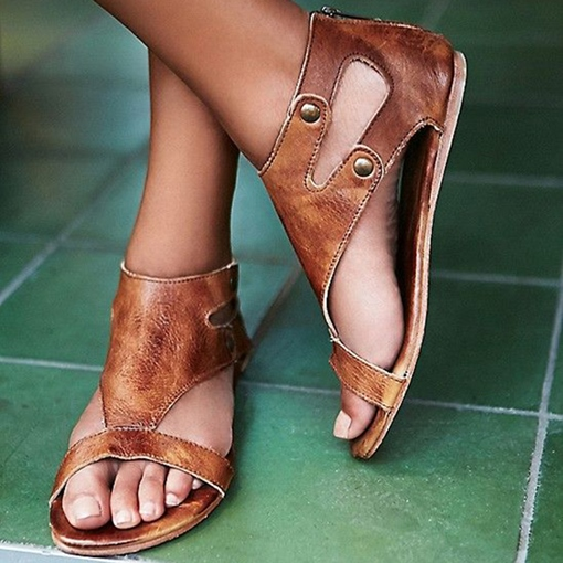 Rivets Heel Covering Brown Women's Flat Sandals