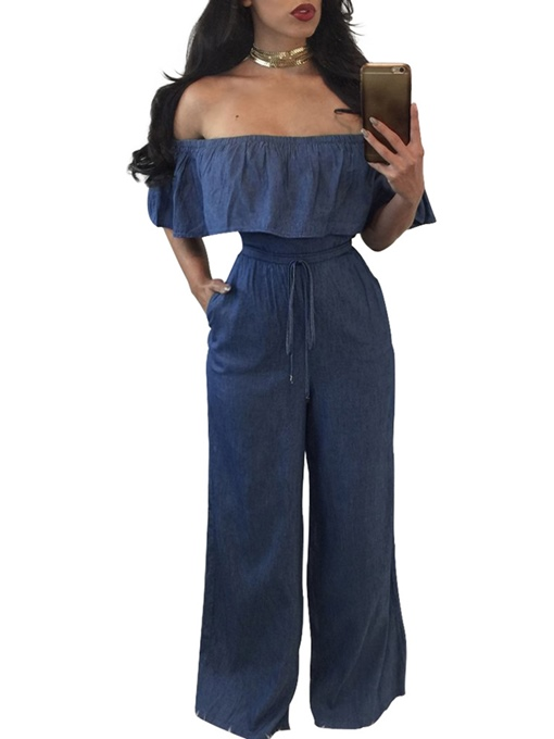 Falbala Pleated Boat Neck Pocket Plain Women's Jumpsuit