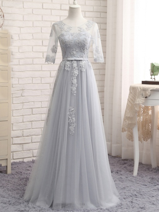 Appliques Bowknot Half Sleeves Bridesmaid Dress