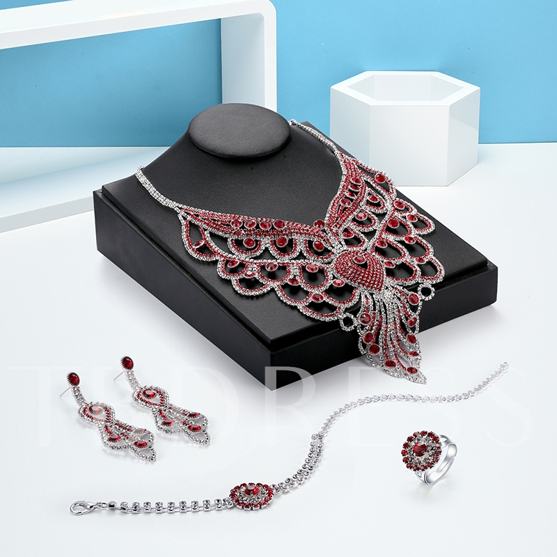 White & Red Rhinestone Inlaid Vogue Jewelry Set