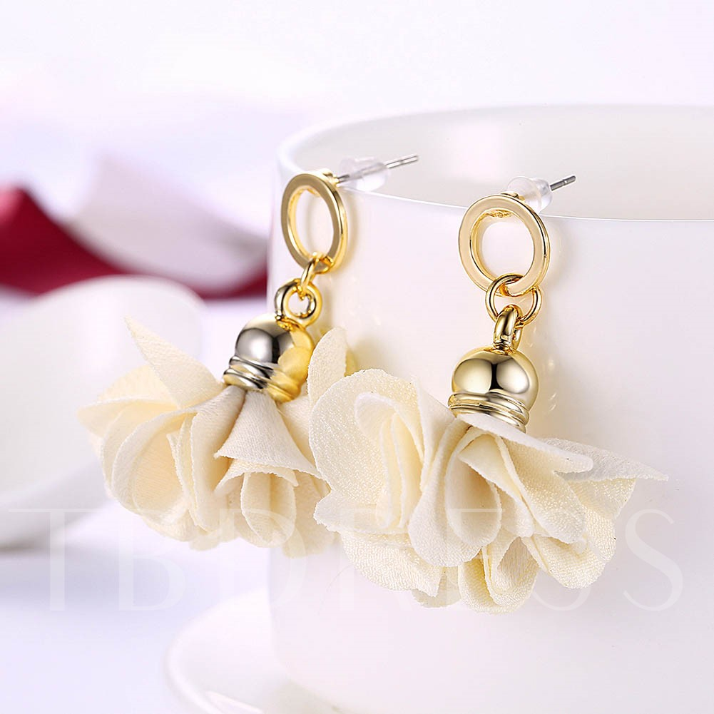 Cloth Flowers Design Simple Alloy Earrings
