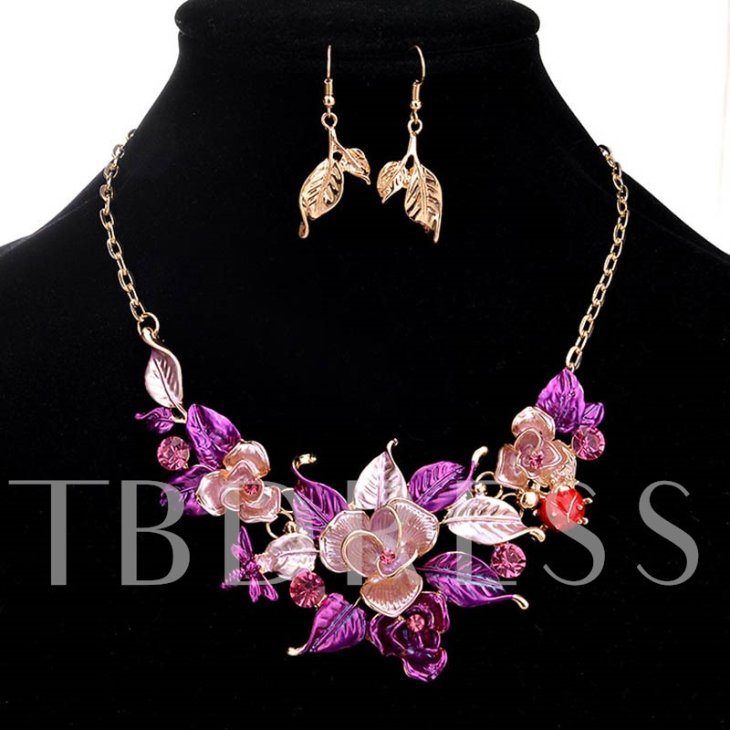 Ultra Violet Oil Drip Flowers & Leaf Design Jewelry Set