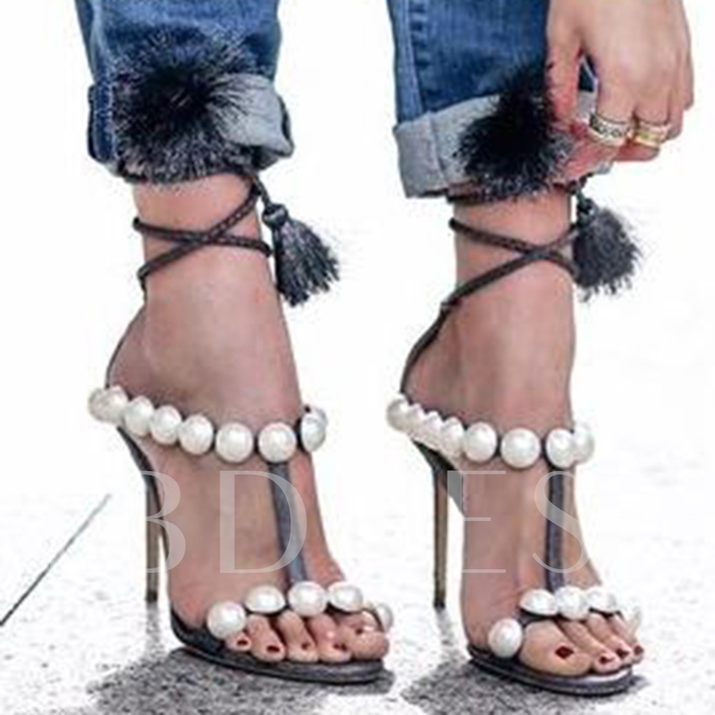 Decorative Beads Stiletto Heel Sandals