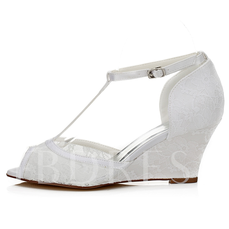 Peep Toe Lace Wedge Heel Bridal's Dress Sandals