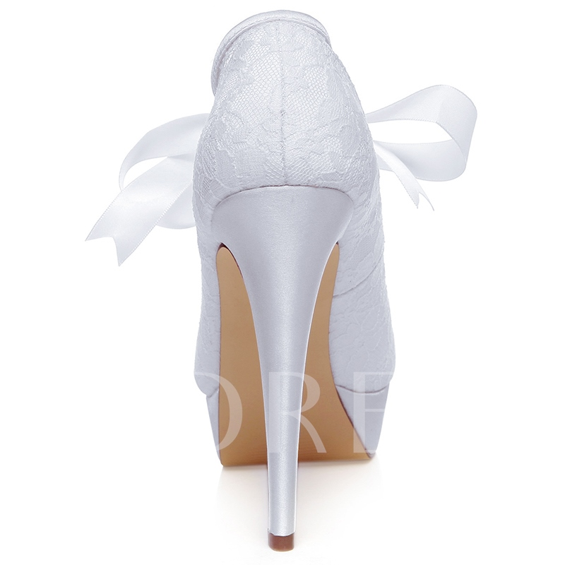 Lace Detail Ribbon Tied Bridal's Dress Heels