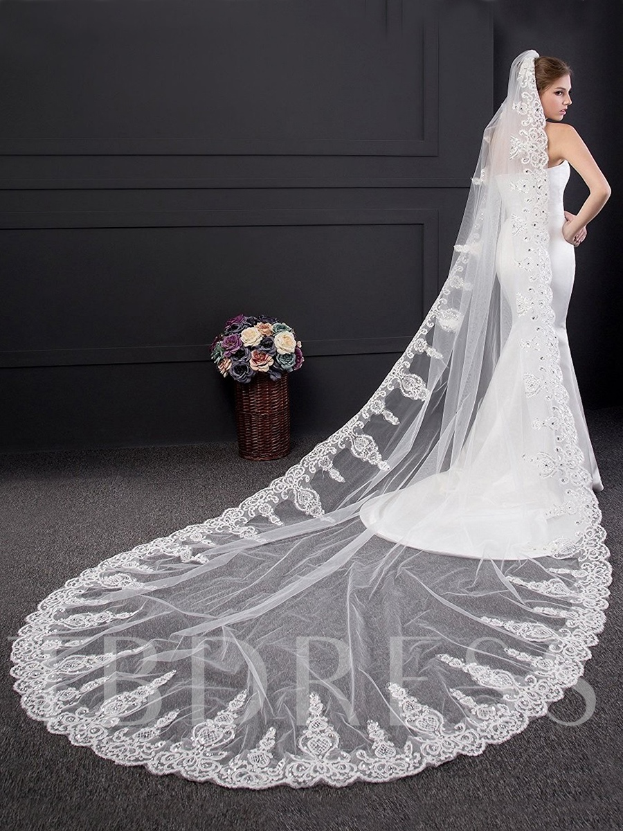 Sequins Appliques Chapel Wedding Bridal Veil