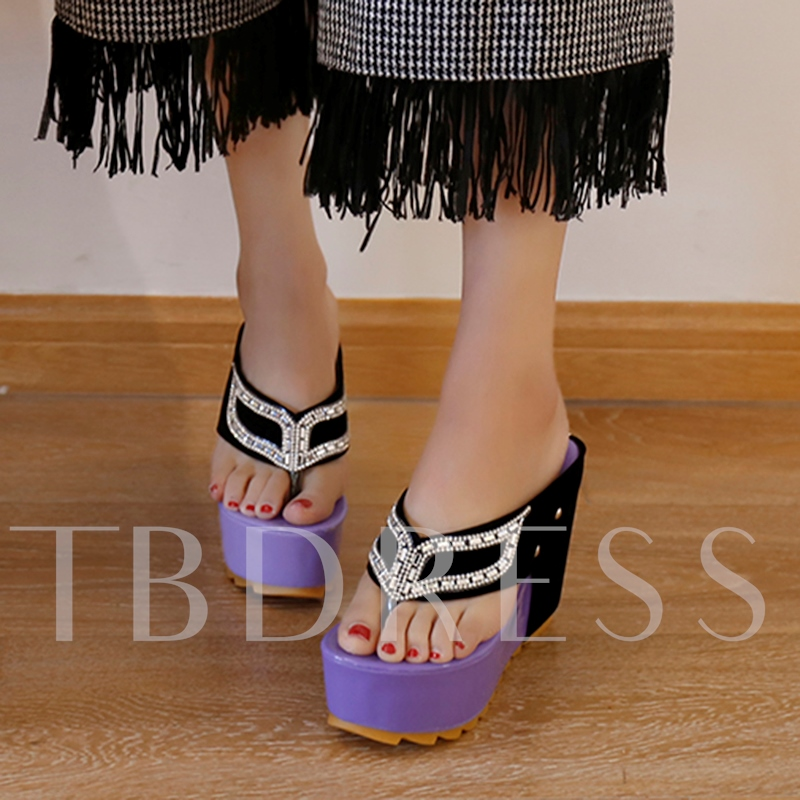 Slip-On Platform Rhinestone Open Toe Women's Sandals