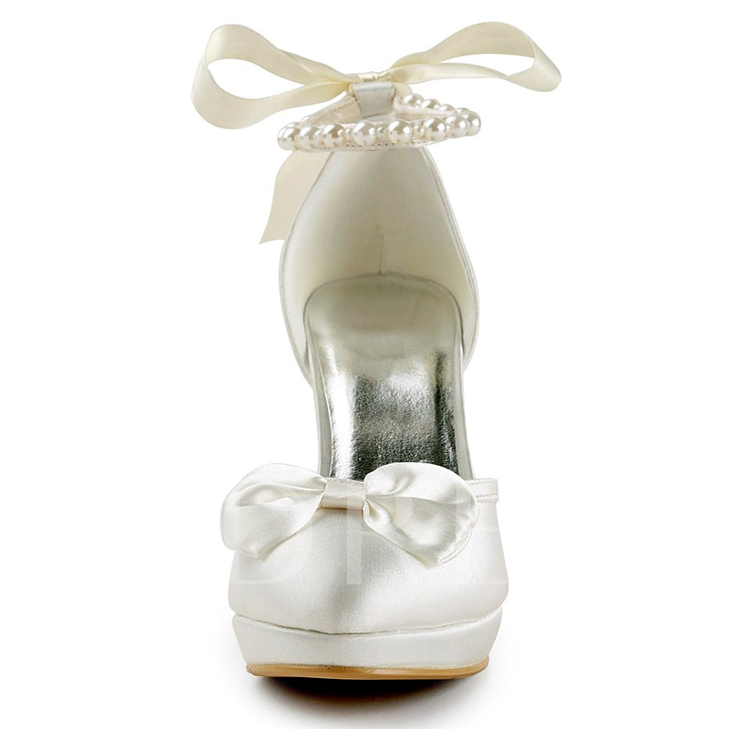 Front Bow Beads Bridal's Wedding Heels