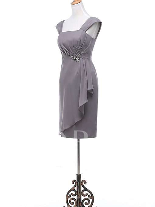 Chiffon Sheath Short Beaded Mother of the Bride Dress with Jacket