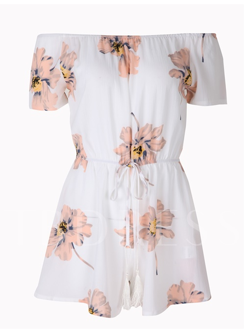 Slash Neck High-Waist Pleated Floral Print Patchwork Women's Rompers
