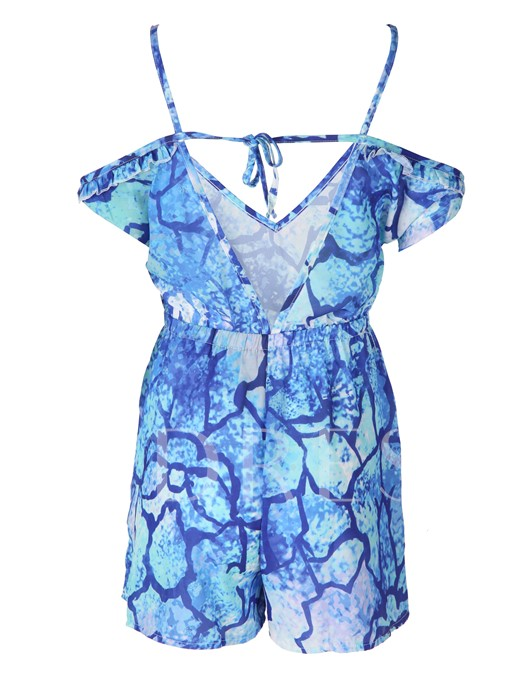 Dark Blue Floral Print Backless Lace-Up Vacation Women's Rompers