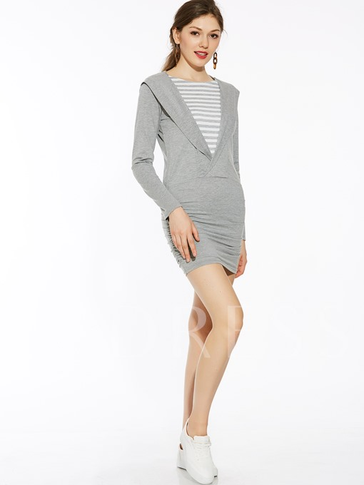Long Sleeve Fake Two Piece Women's Slim Dress