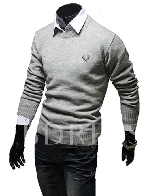 Round Collar Thicken Warm Solid Color Slim Fit Men's Casual Sweater