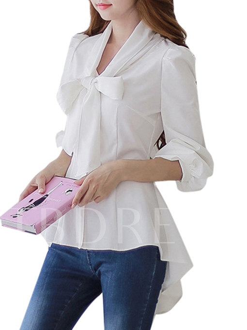 Solid Color Asymmetric Bow Knot Women's Blouse