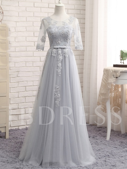 Half Sleeves Appliques Scoop Neck Bridesmaid Dress