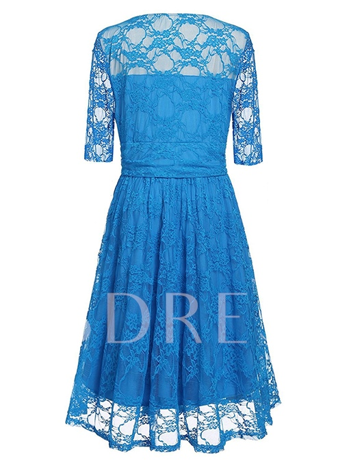 Plus Size Floral Lace Half Sleeve Mother Of The Bride Dress