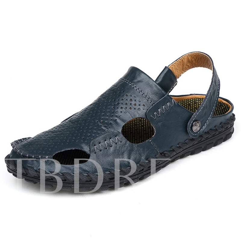 Threads Detail Closed Toe Slip-On Men's Sandals