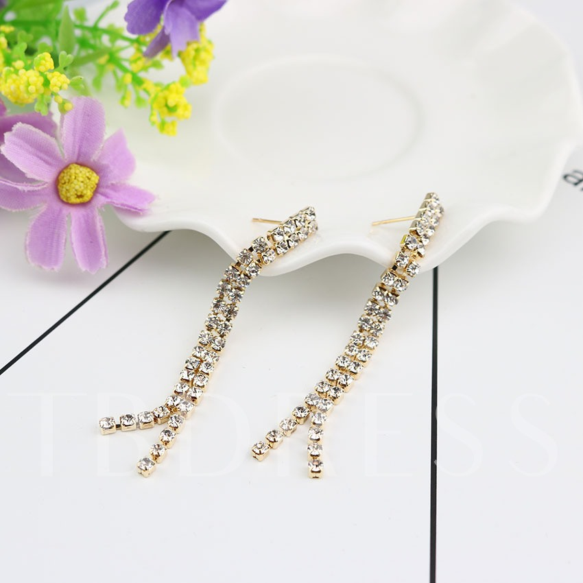 Long Full Rhinestone Tassels Earrings