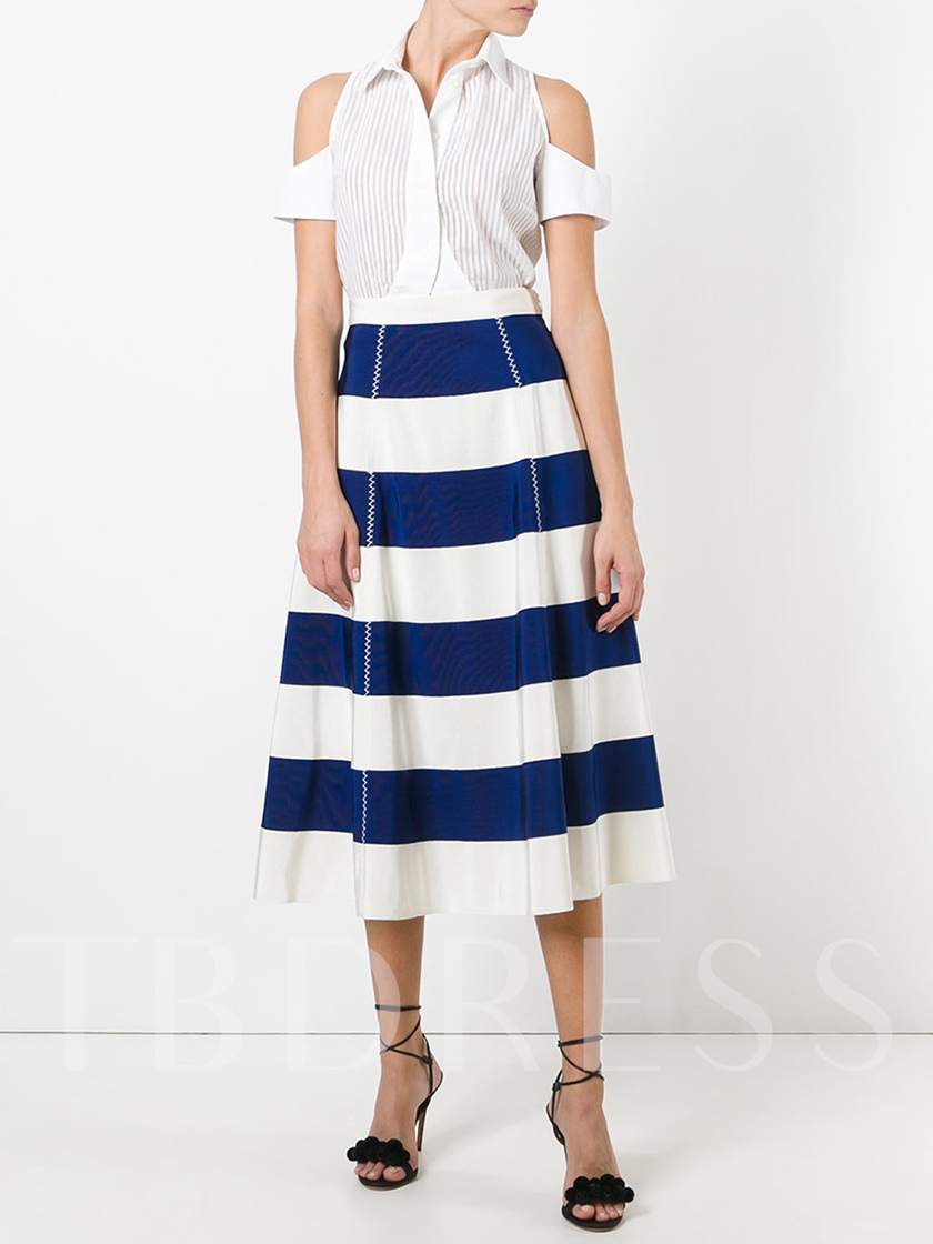 Stripe Print High-Waisted Women's Skirt