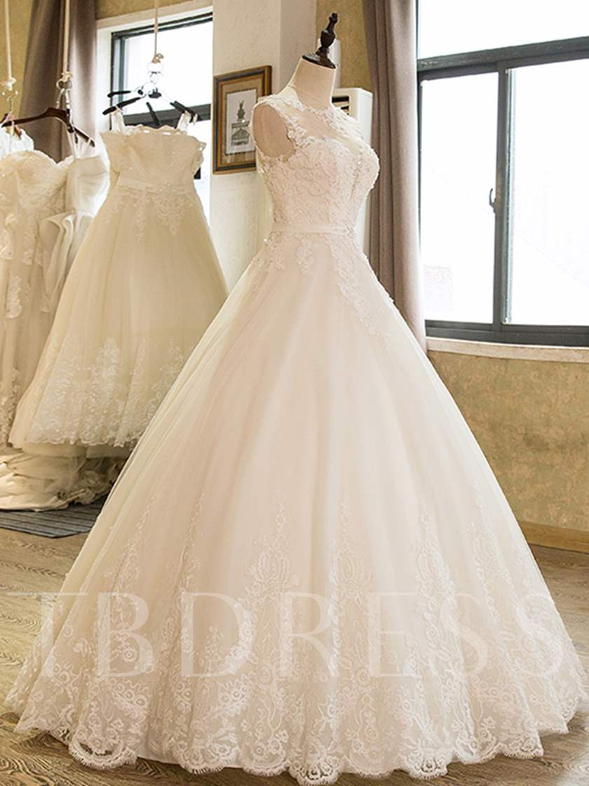Ball Gown Appliques Beading Scoop Neck Wedding Dress