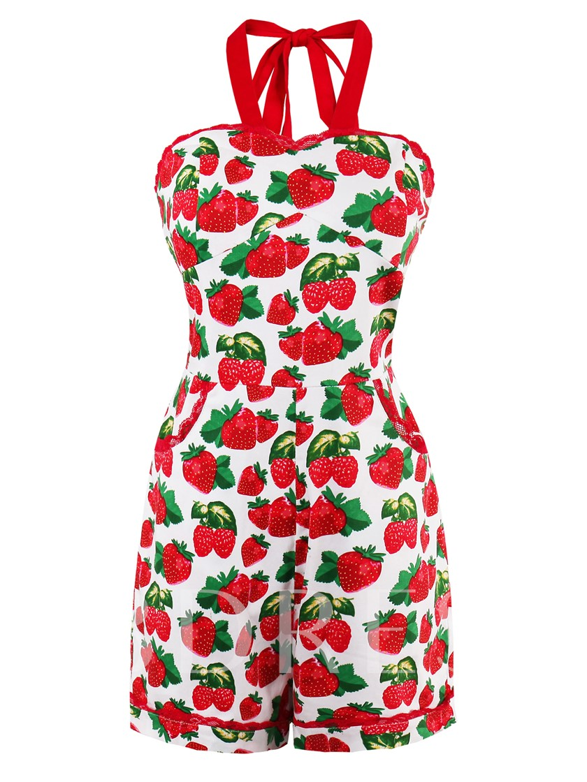 Strawberry Printed Cami Women's Rompers