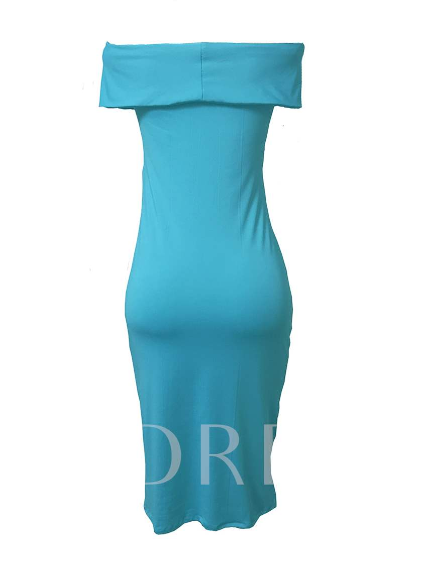 Light Blue Off Shoulder Ruffle Women's Bodycon Dress