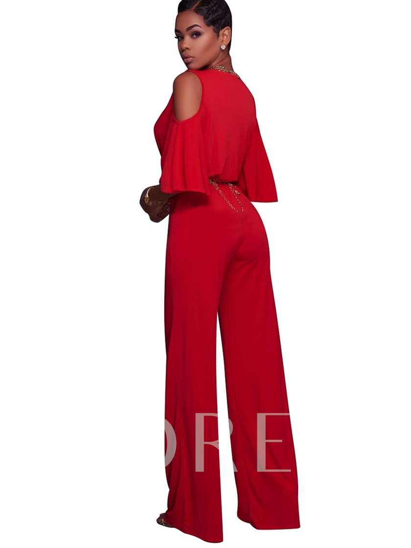 High-Waist Hollow V-Neck Pleated Plain Women's Jumpsuit