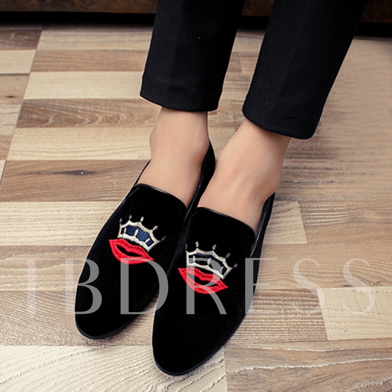 Low Heel Embroidery Slip-On Men's Loafers