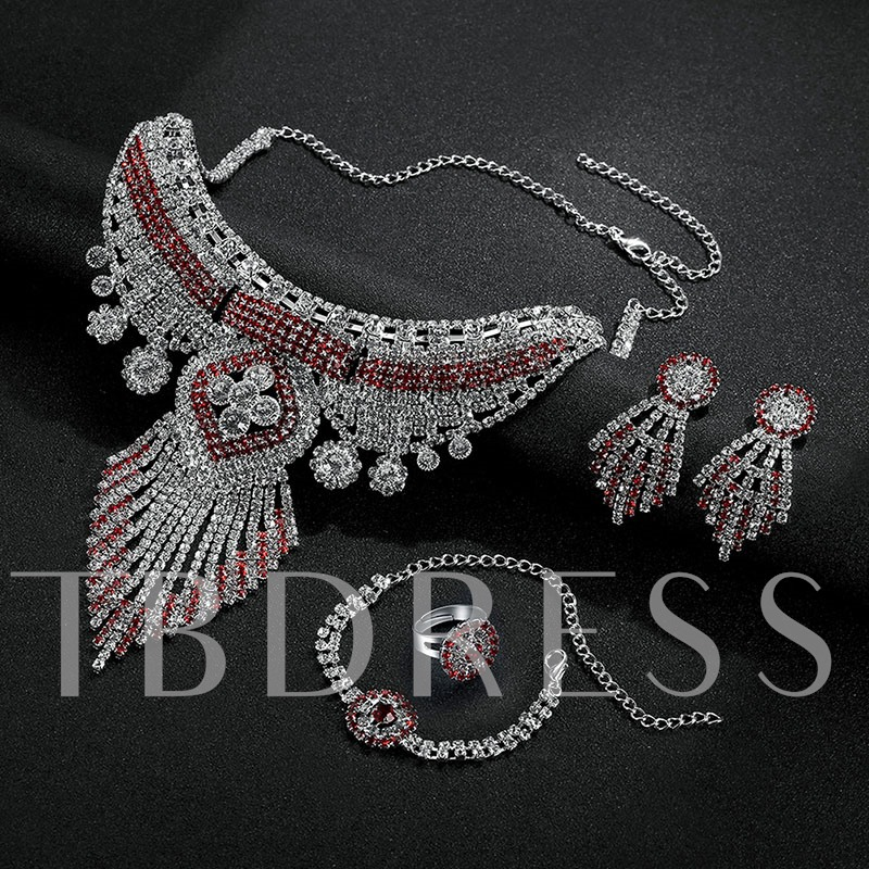Charming Rhinestone Tassels Jewelry Set