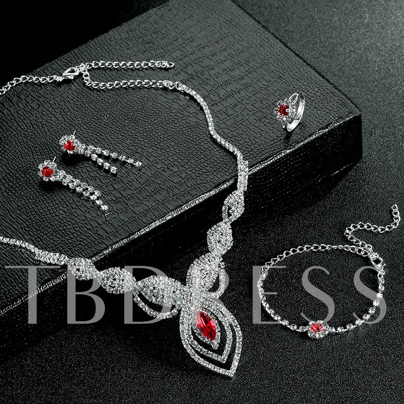 Red Gemstone Inlaid Alloy E-Plating Jewelry Set