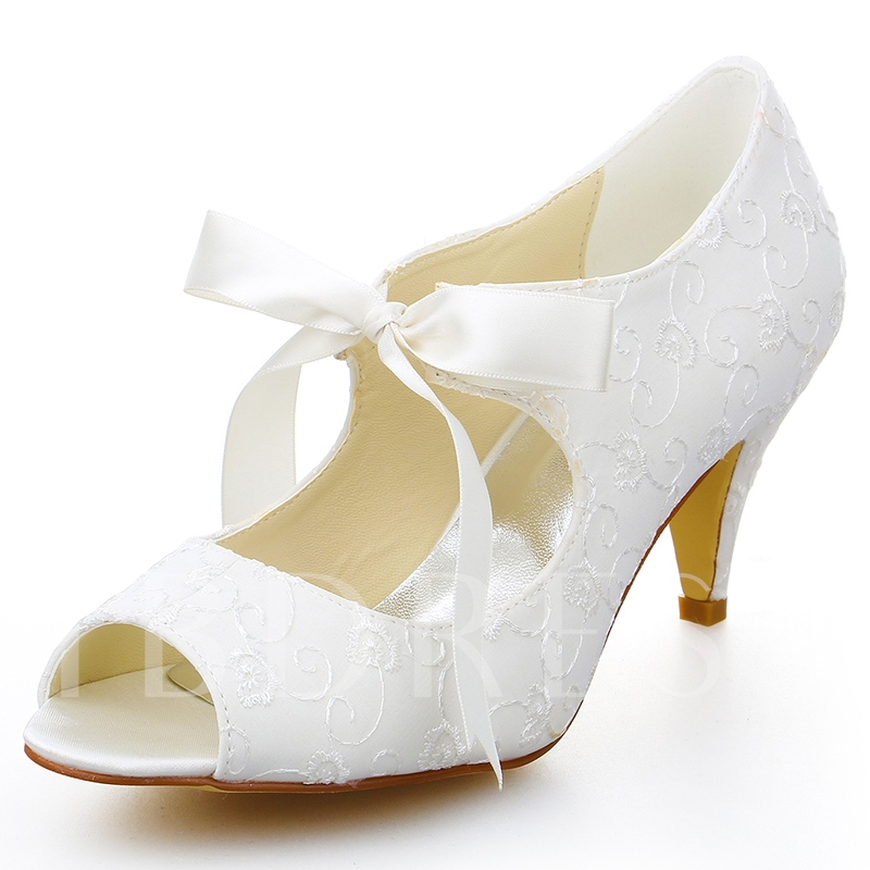 Buy Peep Toe Ribbon Tie Cone Heel Bridal's Dress Sandals, Spring,Summer, 12819729 for $51.99 in TBDress store