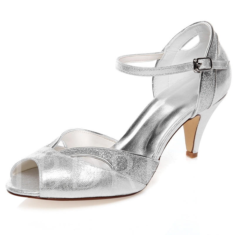 Peep Toe Silver Evening Bridal's Dress Sandals, Spring,Summer, 12819736
