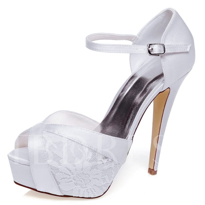 Buy Lace Detail Stiletto Heel Peep Toe Bridal's Wedding Shoes, Spring,Summer, 12819750 for $57.99 in TBDress store