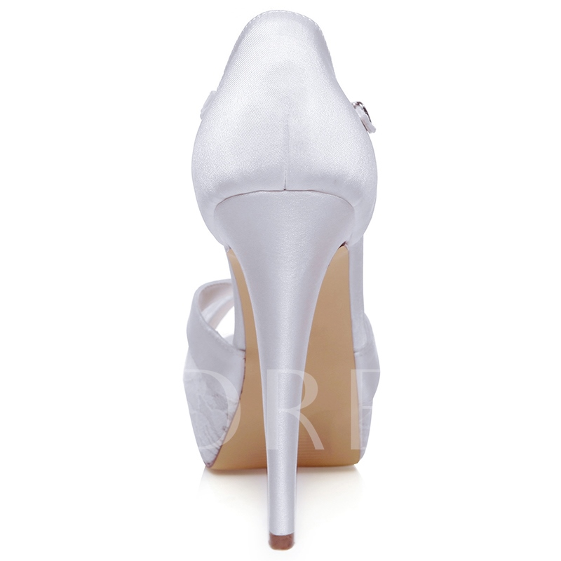 Lace Detail Stiletto Heel Peep Toe Bridal's Wedding Shoes