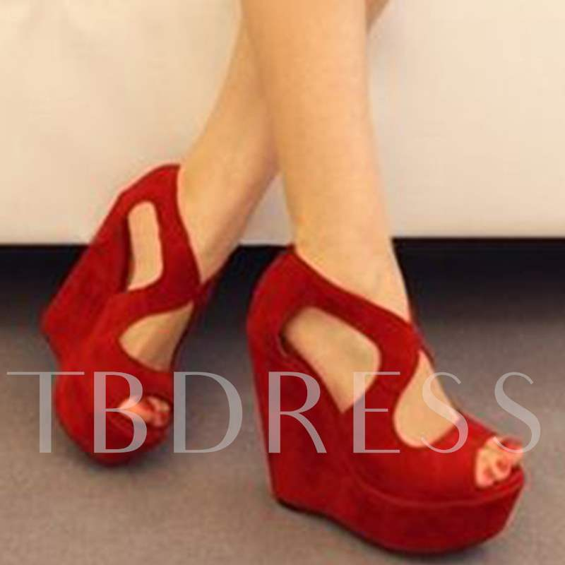 Peep Toe Red Platform Women's Wedge Sandals