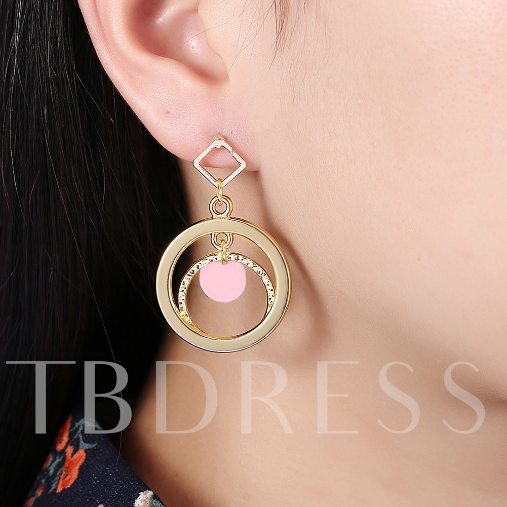 Imitation Gold Plated Double Circle Design Earrings