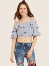Off Shoulder Ruffle Sleeve Floral Embroidery Stripe Blouse