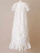 Short Sleeve Lace Baby Baptism Christening Gown with Bonnet