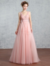 Appliques A-Line Pearls V-Neck Sashes Floor-Length Prom Dress