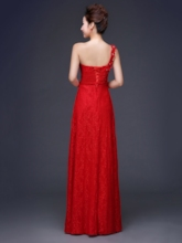 Red One-Shoulder Lace Long Bridesmaid Dress
