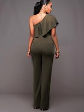 Irregularity Falbala Backless Plain Women's Jumpsuit