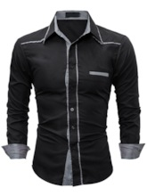 Lapel Patchwork Contrast Trim Slim Men's Shirt