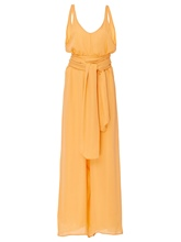Yellow High-Waist Backless Lace-Up Wide Legs Women's Jumpsuit