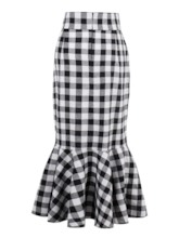 Plaid Printing Zipper Women's Fishtail Skirt